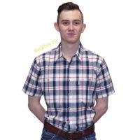 Рубашка мужская в крупную темно-синюю клетку с красной полосой