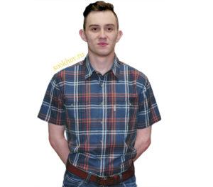 Рубашка с коротким рукавом в крупную бордоко синюю клетку