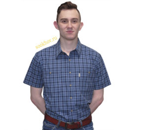 рубашка с коротким рукавом в темно синюю мелкую клетку