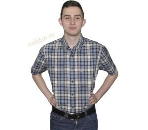 Мужская рубашка с коротким рукавом супер большого размера, в зеленую среднюю клетку с двумя большими карманами.