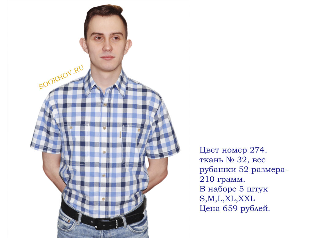 новая-коллекция-2019-летняя-рубашка-короткий-рукав-средняя-голубая-клетка