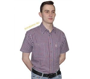 Мужская рубашка в мелкую красную и синюю клетку. Модель свободного кроя с двумя карманами. Толщина материи 32.