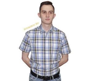 Мужская рубашка в крупную клетку голубого и бежевого цвета. Модель свободного кроя с двумя большими карманами. Толщина материи 32.