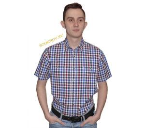 Джинсовая рубашка в среднего размера бордово-синего цвета клетку. Модель-G свободного кроя с двумя большими карманами. Толщина материи 32.