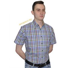 Джинсовая рубашка в среднего размера коричневого и салатневого цвета клетку. Модель-G свободного кроя с двумя большими карманами. Толщина материи 32.
