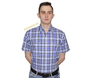 Джинсовая рубашка в среднего размера фиолетово-голубого цвета клетку. Модель свободного кроя с двумя большими карманами. Толщина материи 32.