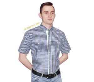 Мужская рубашка в мелкую салатневую и синюю клетку. Модель немного зауженная с двумя карманами. Вышивка на кармане и планка салатневого цвета дополняет модель рубашки. Толщина материи 32.
