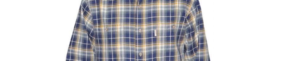 Джинсовая рубашка в крупную желто синюю клетку из мягкого хлопка. Модель с двумя карманами,свободного кроя.