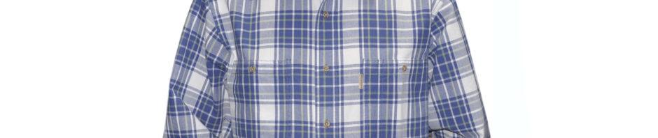 Мужская рубашка с длинным рукавом в крупную бело голубую клетку. Модель свободного кроя с двумя большими карманами.